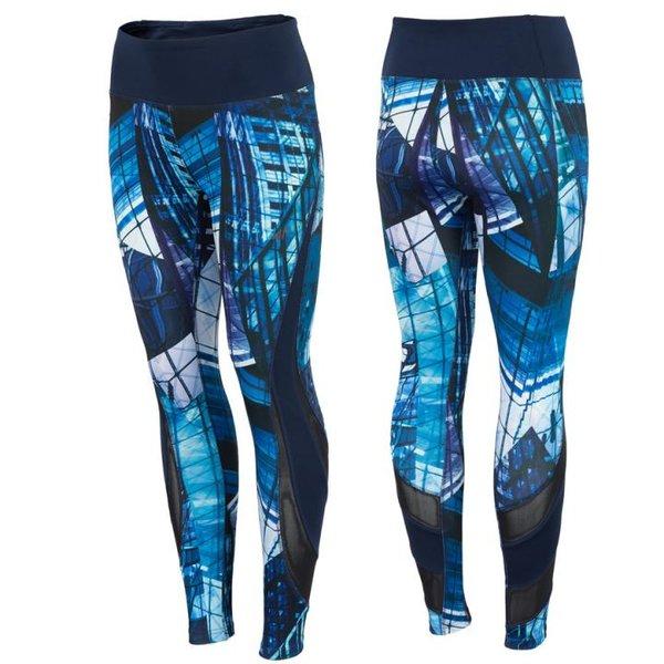 4F - Fitnesshose - Damen Sport Leggings - blau bunt