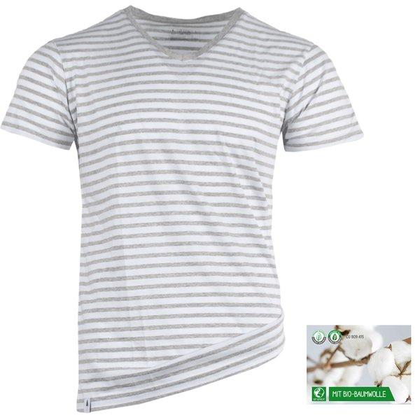NIKIN - TreeShirt V-Neck Stripe Herren T-Shirt Bio-Baumwolle, grau