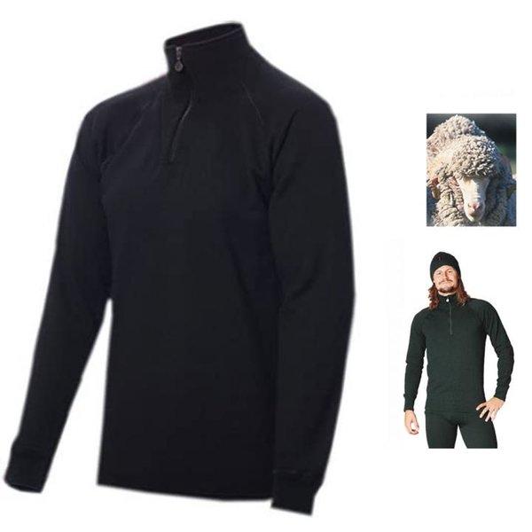 TERMO - MERINO HEAVY dicker Zip Pullover Longshirt, schwarz