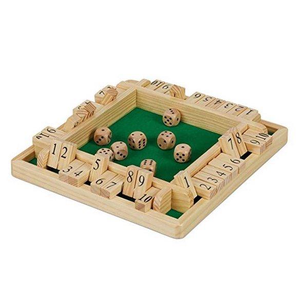 Relaxdays Shut The Box 10er, Reisespiel für 2 bis 4 Spieler, Spielbrett mit 8 Würfeln, Klappenspiel,