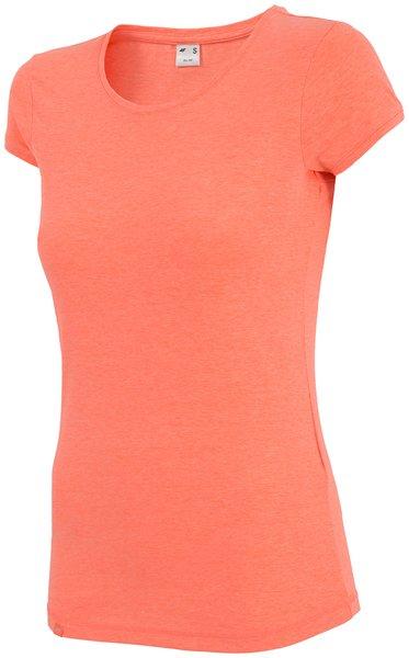 4F- Damen Basic T-Shirt 2018 - Baumwollshirt - coral