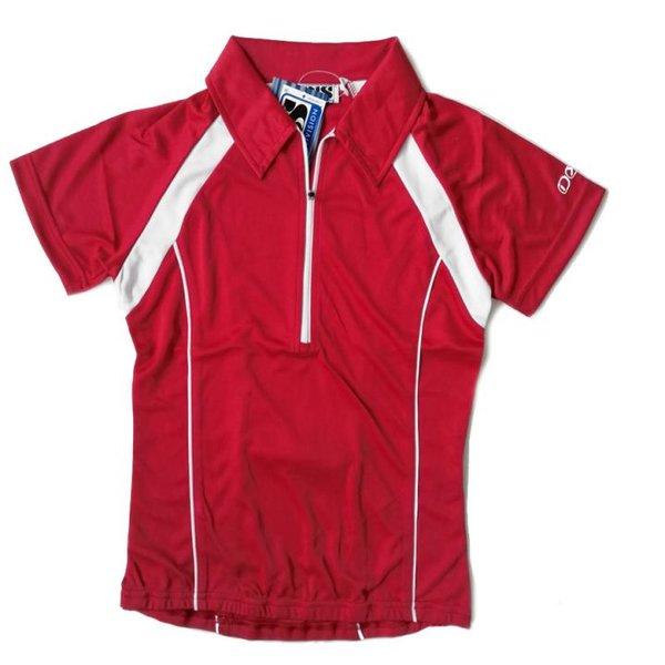 IXS - Damen Sport- Fahrrad Poloshirt - 4way Stretch Sportshirt - rot