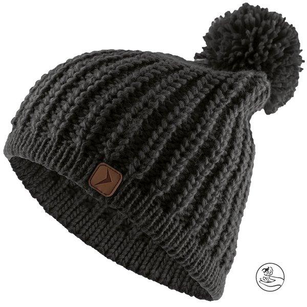 CAD615 - Marken Strickmütze mit Bommel - dicke Wintermütze - schwarz